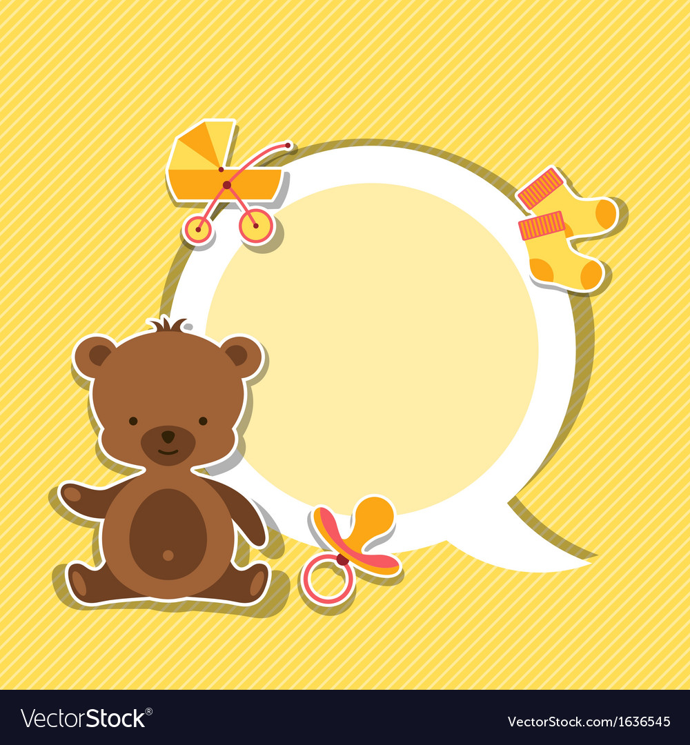 Background photo frame with little cute baby bear vector | Price: 1 Credit (USD $1)