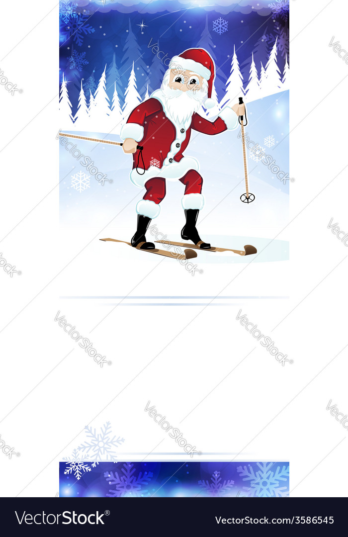 Cheerful santa claus on skis vector | Price: 1 Credit (USD $1)