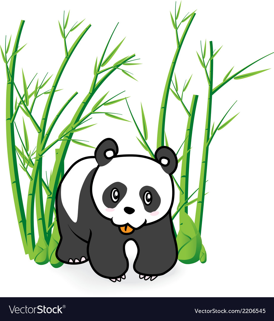 Cute panda bear in bamboo forrest 04 vector | Price: 1 Credit (USD $1)