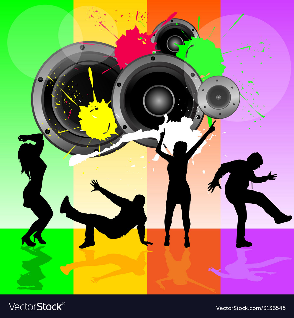 Dancing people with speaker vector | Price: 1 Credit (USD $1)