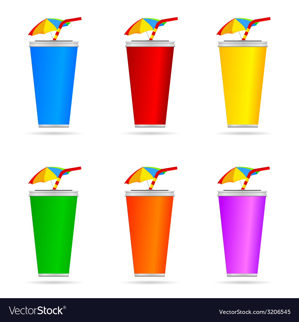 Glass of juice with a straw color art vector | Price: 1 Credit (USD $1)