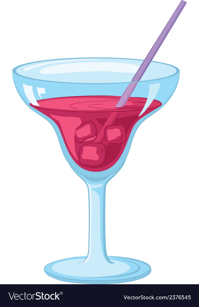 Glass with ice and red drink vector | Price: 1 Credit (USD $1)