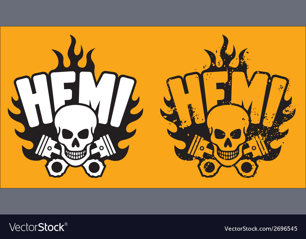Hemi skull and pistons with grunge option vector | Price: 1 Credit (USD $1)