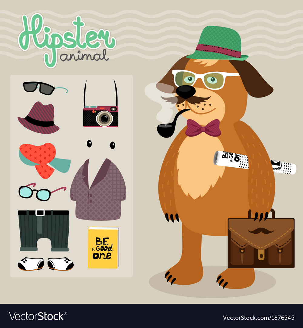 Hipster elements for puppy dog vector | Price: 1 Credit (USD $1)
