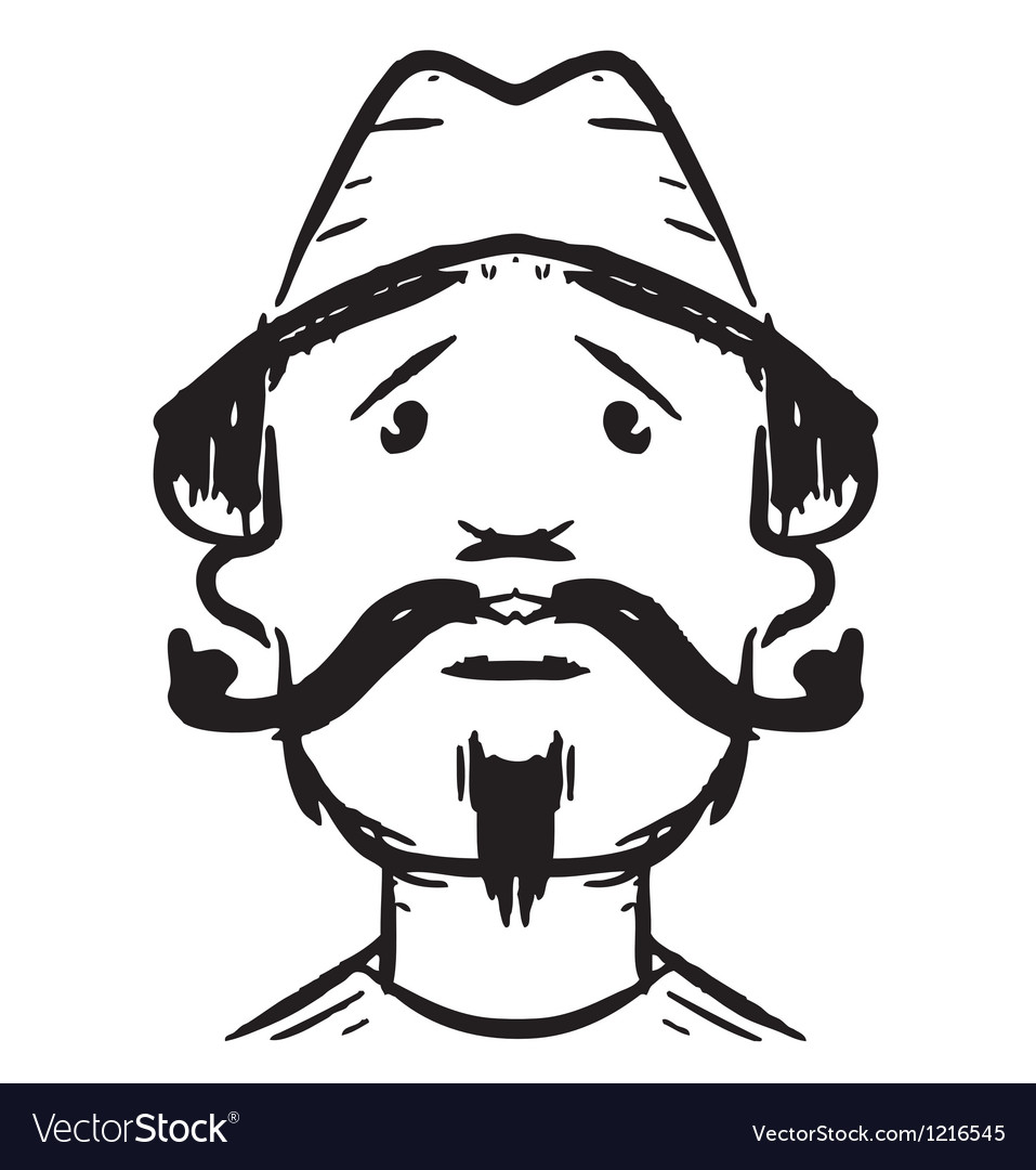 Man face with mustaches vector | Price: 1 Credit (USD $1)