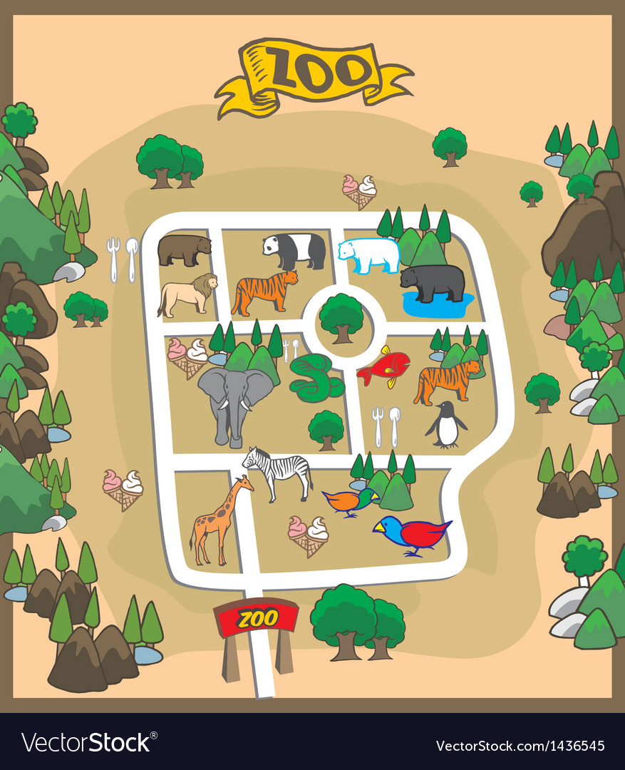 Map of zoo park vector | Price: 1 Credit (USD $1)