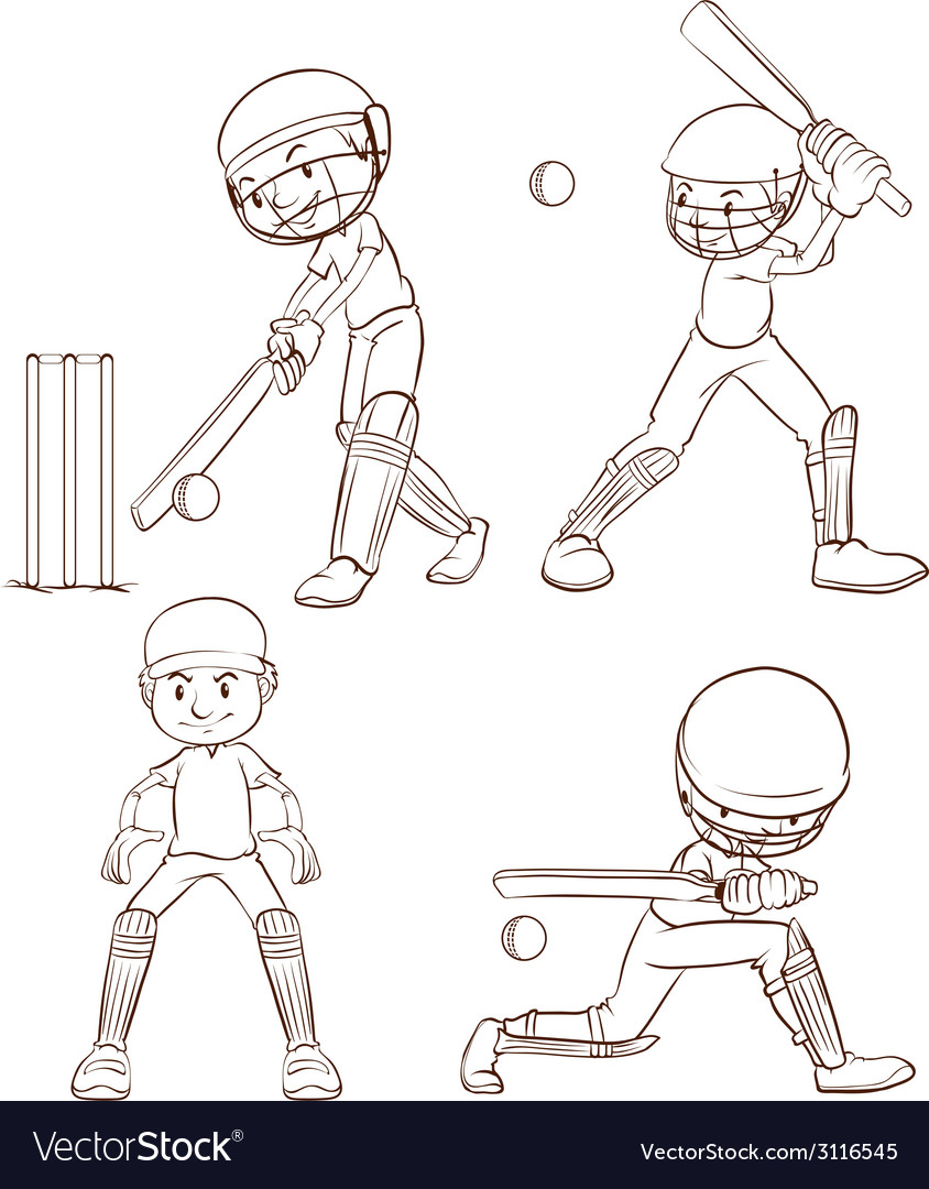 Plain sketches of the cricket players vector | Price: 1 Credit (USD $1)