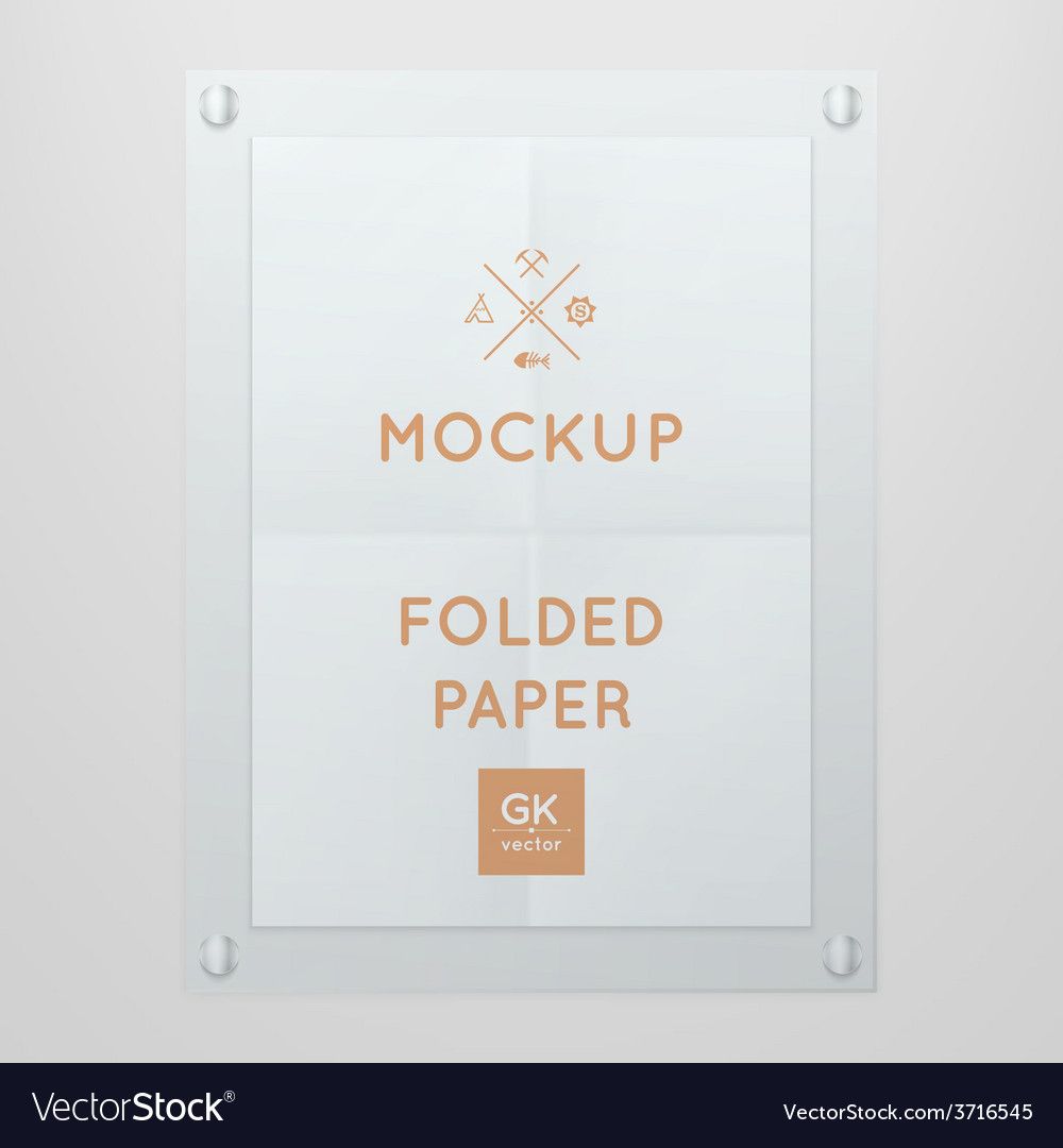 Template of folded poster in glass frame vector | Price: 1 Credit (USD $1)