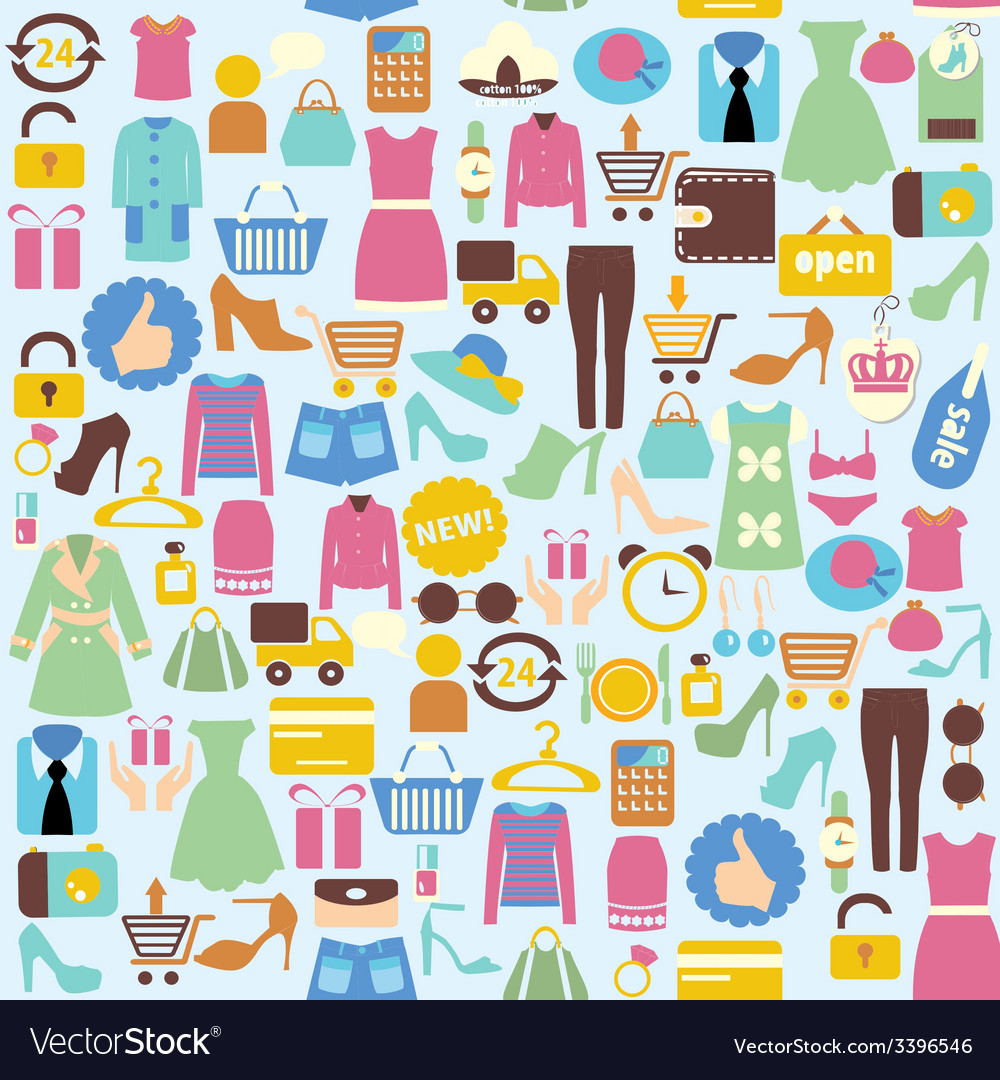 Background with shopping icons vector | Price: 1 Credit (USD $1)