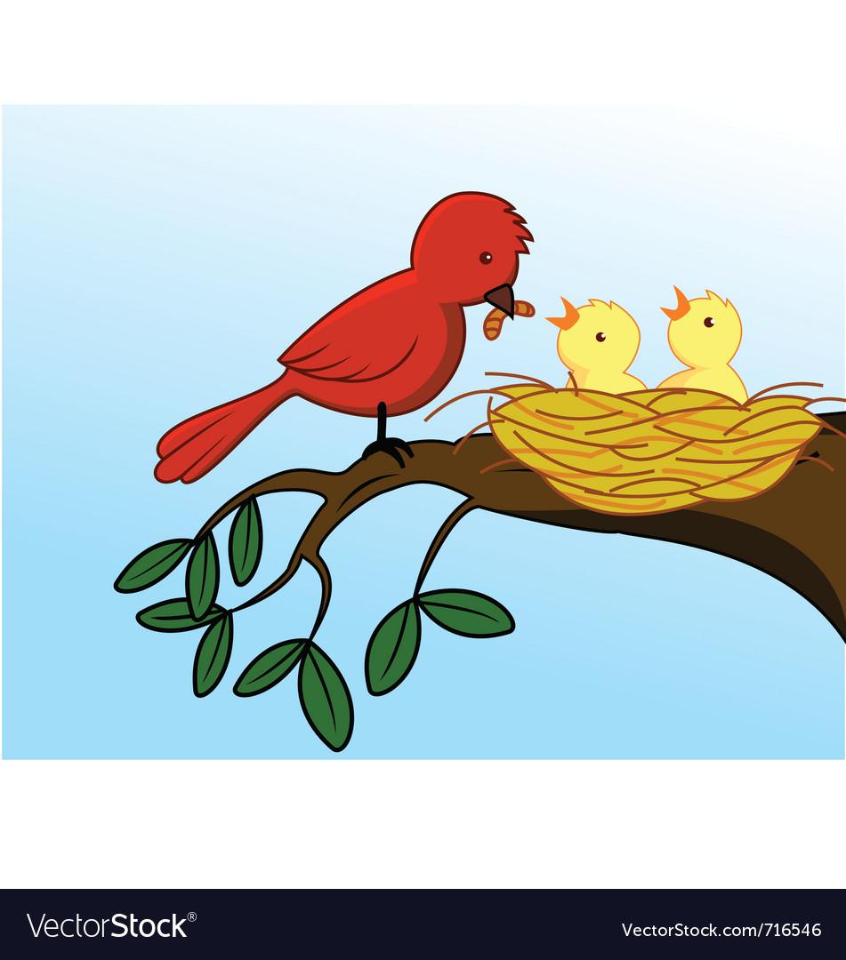 Bird family vector | Price: 3 Credit (USD $3)