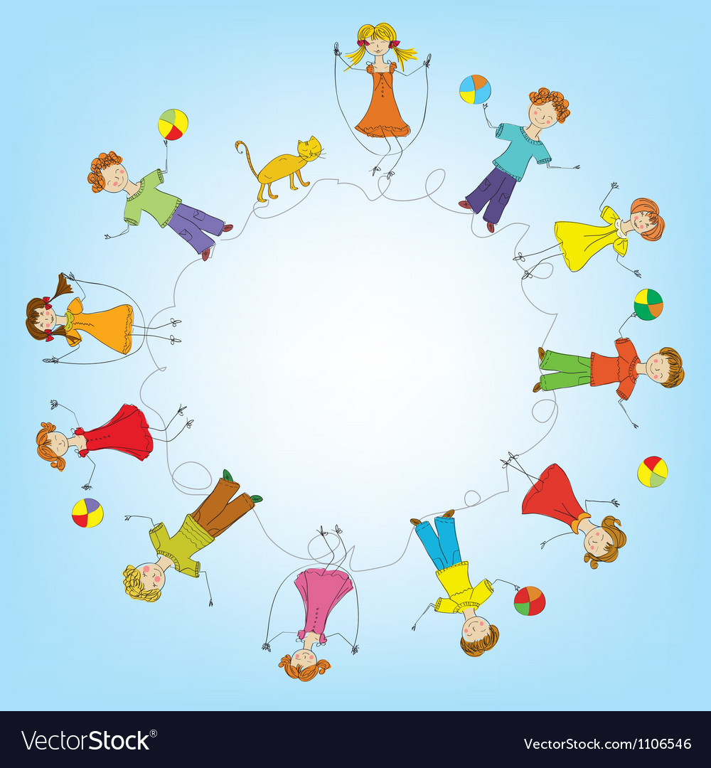Children in a circle vector | Price: 1 Credit (USD $1)