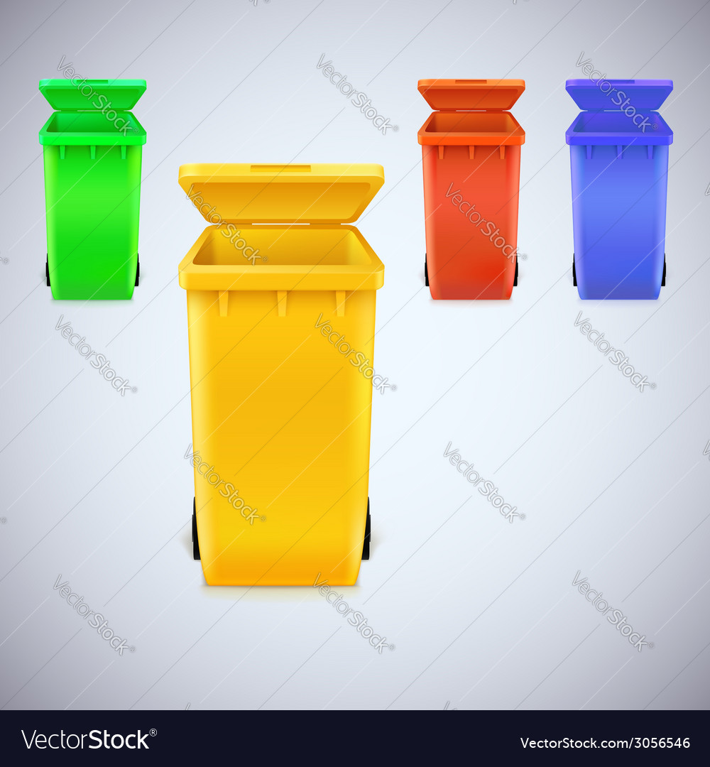 Colored waste bins with the lid open vector | Price: 1 Credit (USD $1)