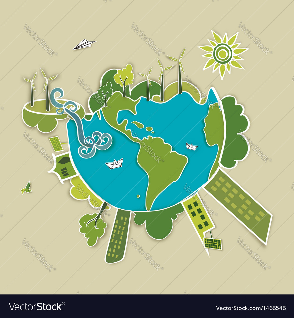 Green world background vector | Price: 1 Credit (USD $1)