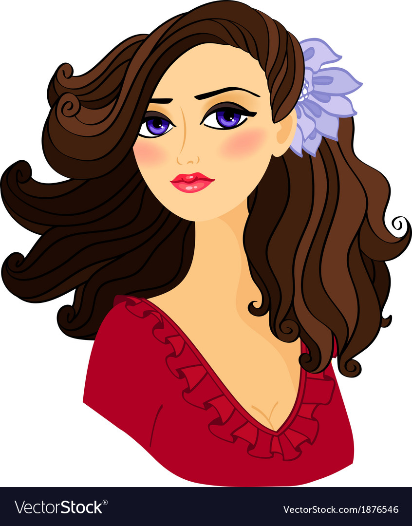 Portrait of beautiful girl isolated vector | Price: 1 Credit (USD $1)