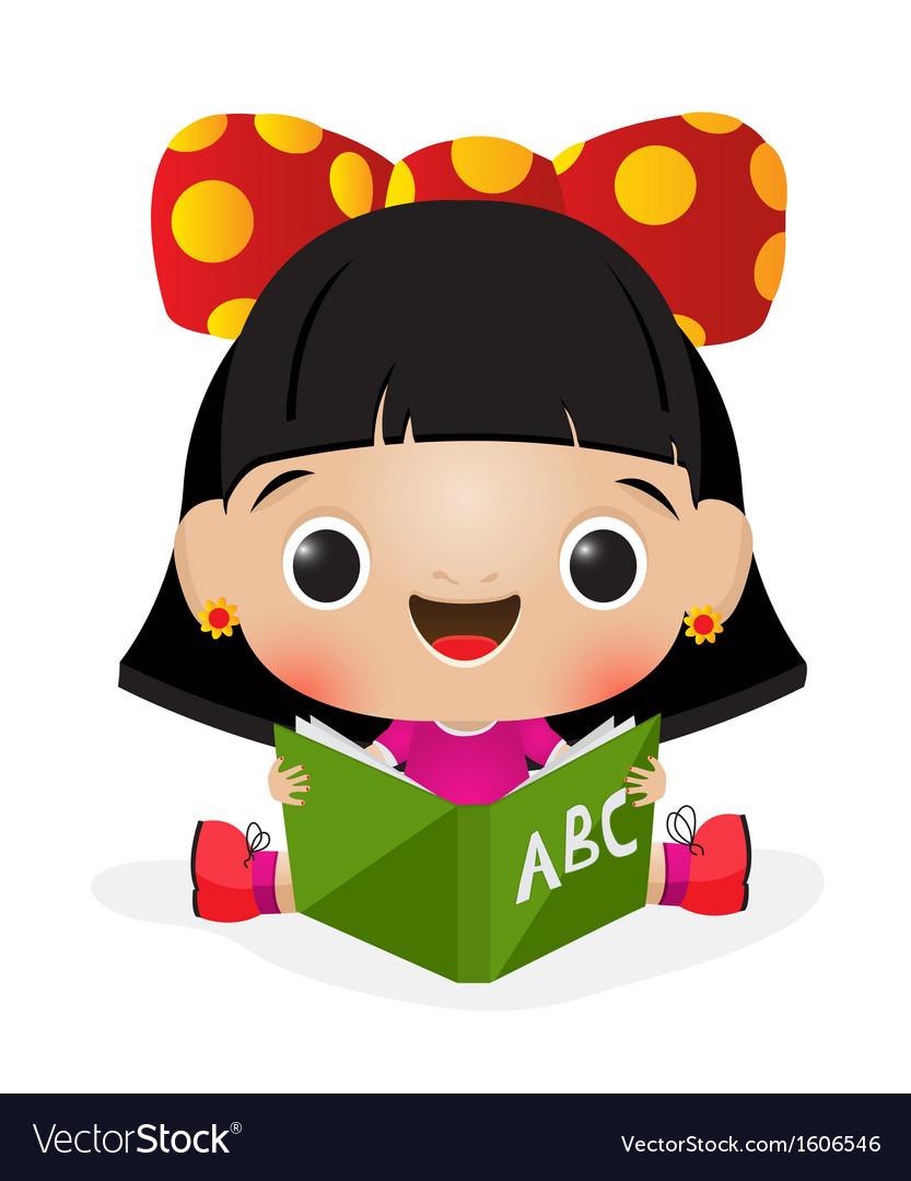 School girl reading vector   Price: 1 Credit (USD $1)
