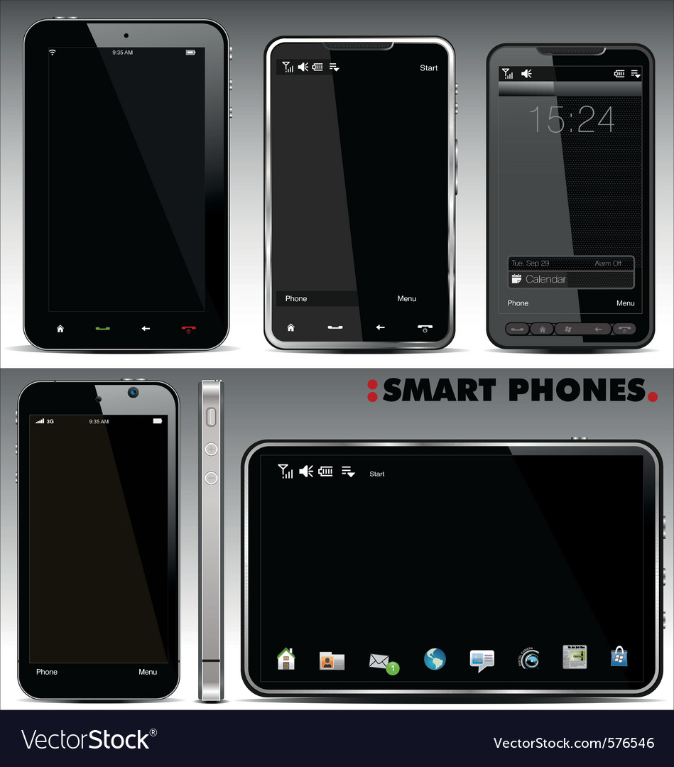 Smart phones set vector | Price: 1 Credit (USD $1)