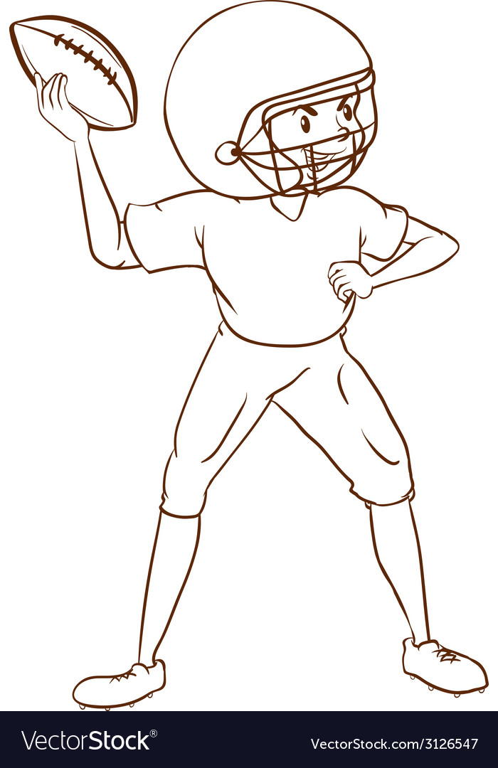A plain sketch of an american football player vector | Price: 1 Credit (USD $1)