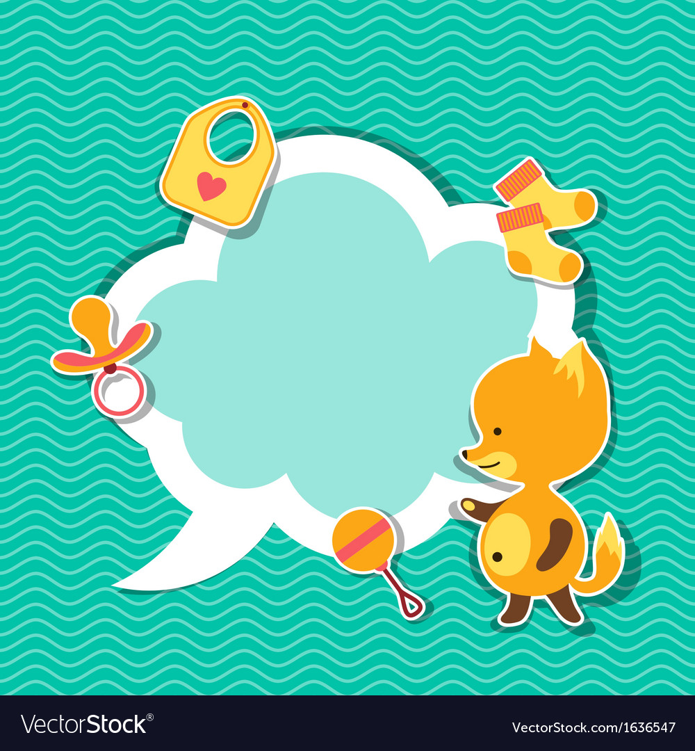 Background photo frame with little cute baby fox vector | Price: 1 Credit (USD $1)