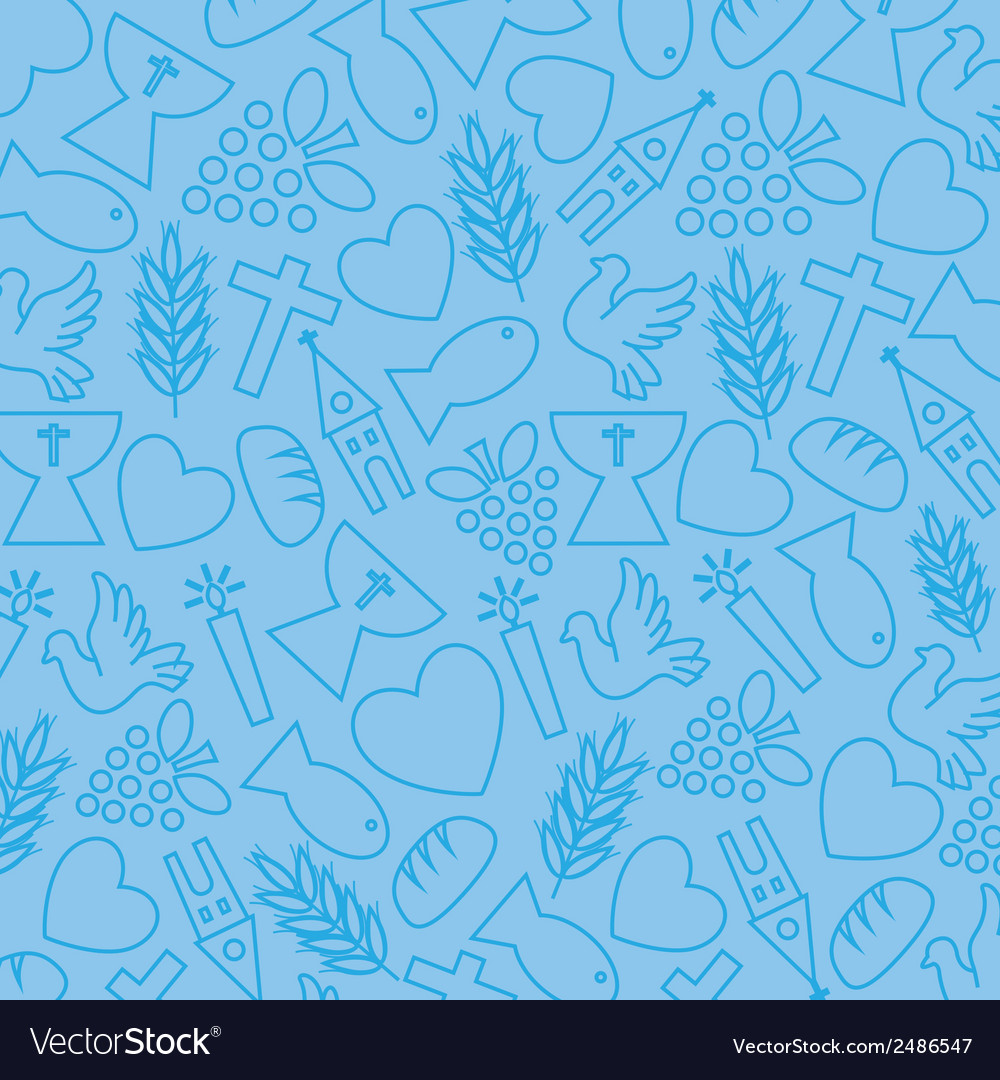 Blue background with communion icons vector | Price: 1 Credit (USD $1)