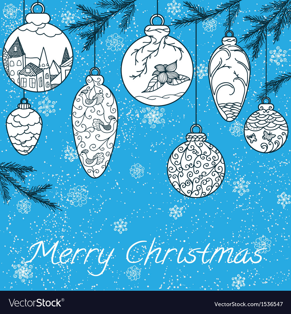 Christmas hand-drawn card vector | Price: 1 Credit (USD $1)