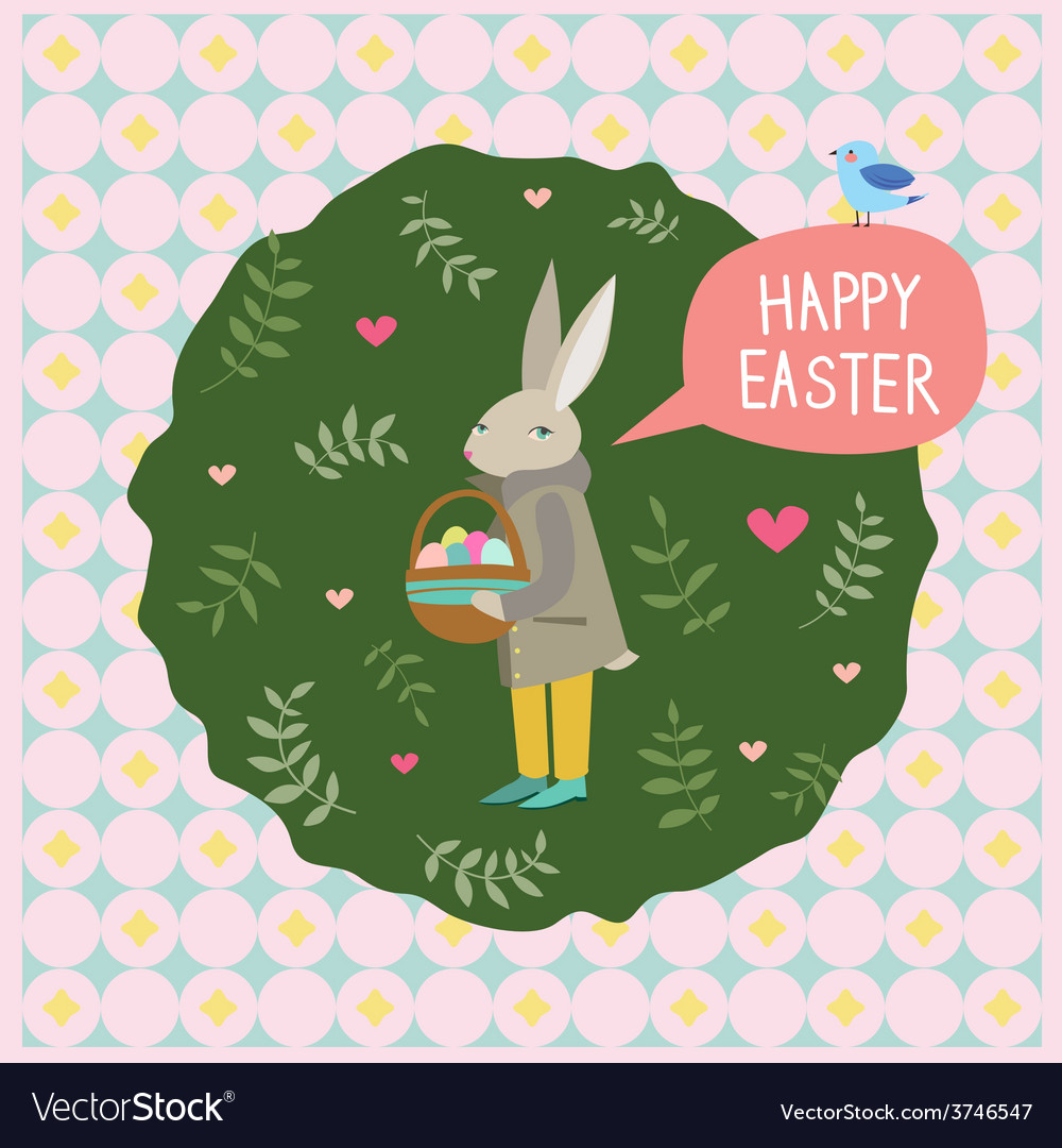 Happy easter print with rabbit and blue bird vector | Price: 1 Credit (USD $1)