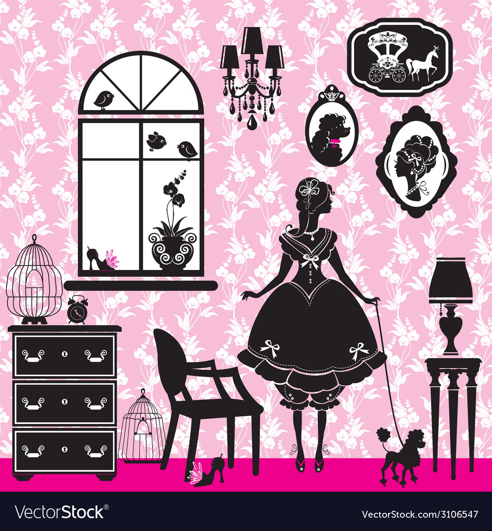 Princess room with glamour accessories furniture c vector | Price: 1 Credit (USD $1)
