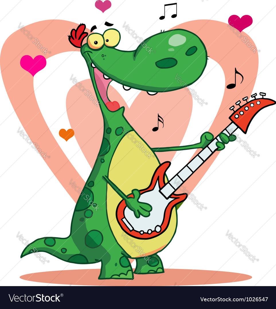 Romantic guitarist dinosaur singing vector   Price: 1 Credit (USD $1)
