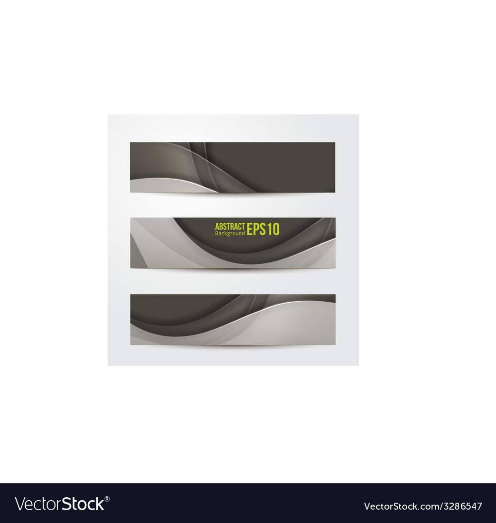 Set of abstract banners gray three background vector | Price: 1 Credit (USD $1)