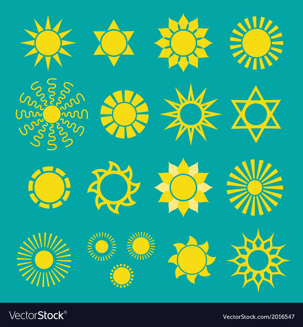 Set of yellow sun icons vector | Price: 1 Credit (USD $1)
