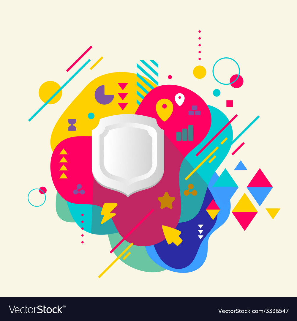 Shield on abstract colorful spotted background vector | Price: 3 Credit (USD $3)