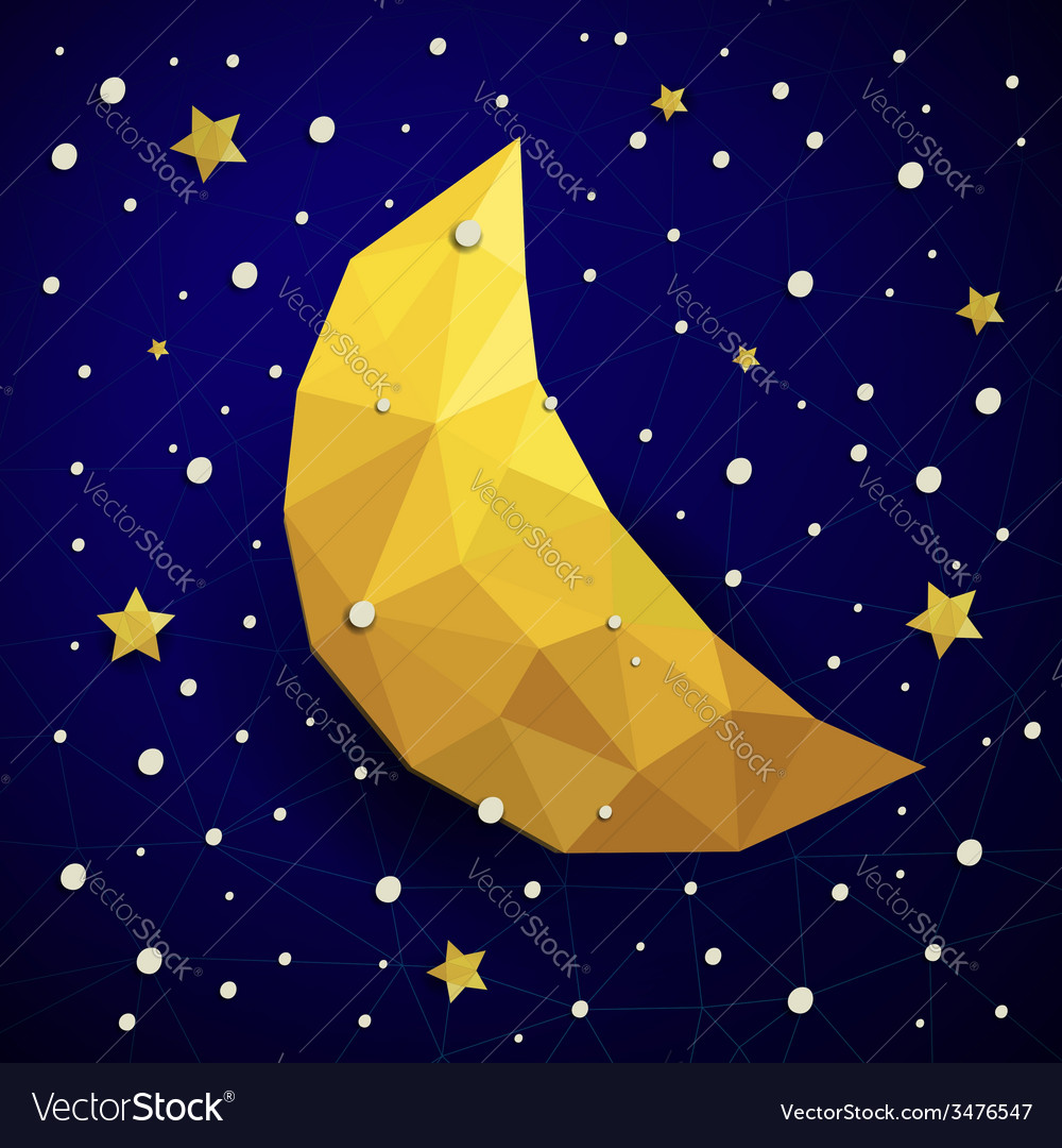Triangle new moon snow and the stars vector | Price: 1 Credit (USD $1)