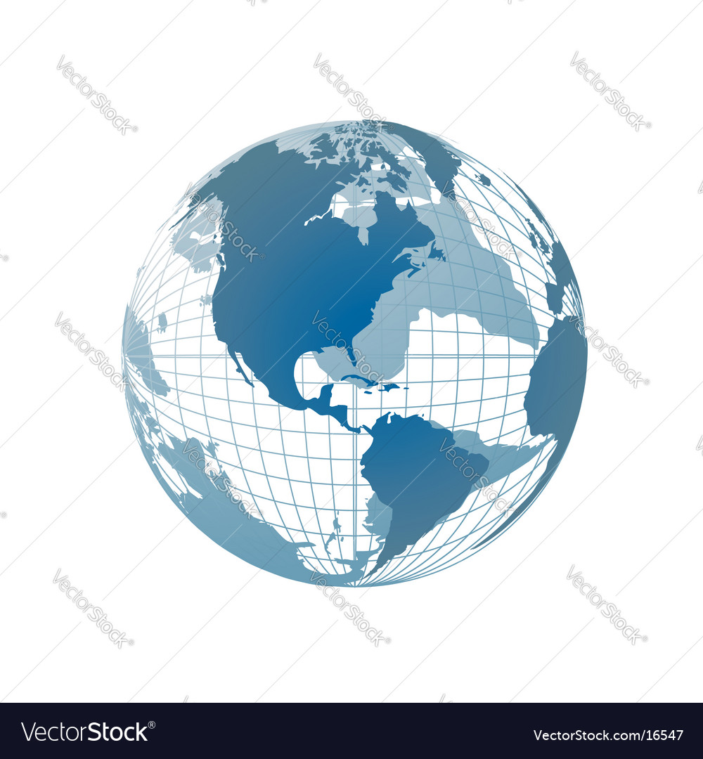 World map globe vector | Price: 1 Credit (USD $1)