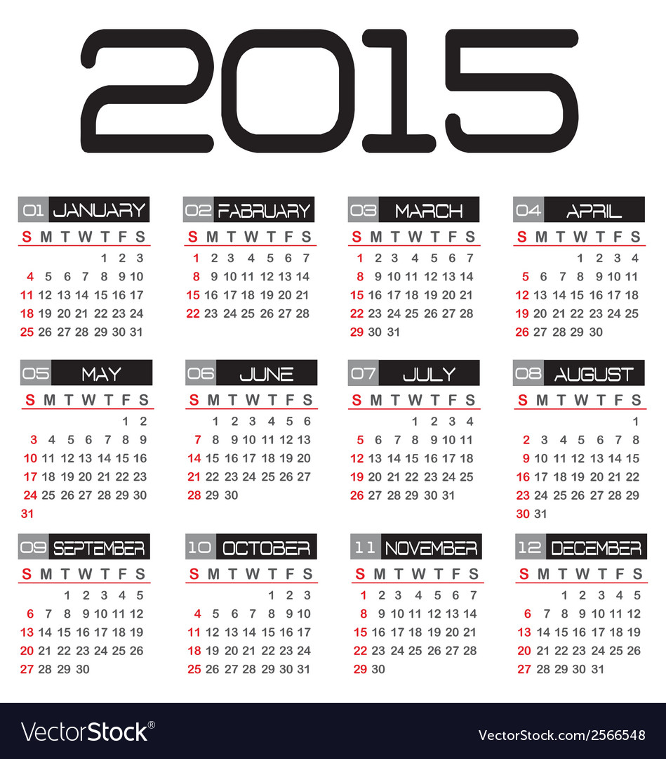 Calendar for the year 2015 vector | Price: 1 Credit (USD $1)