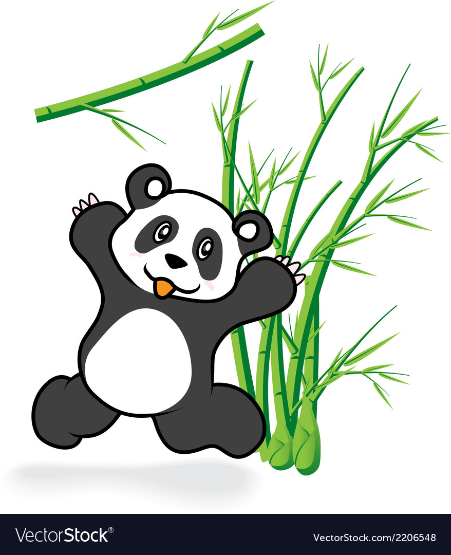 Cute panda bear in bamboo forrest 05 vector | Price: 1 Credit (USD $1)