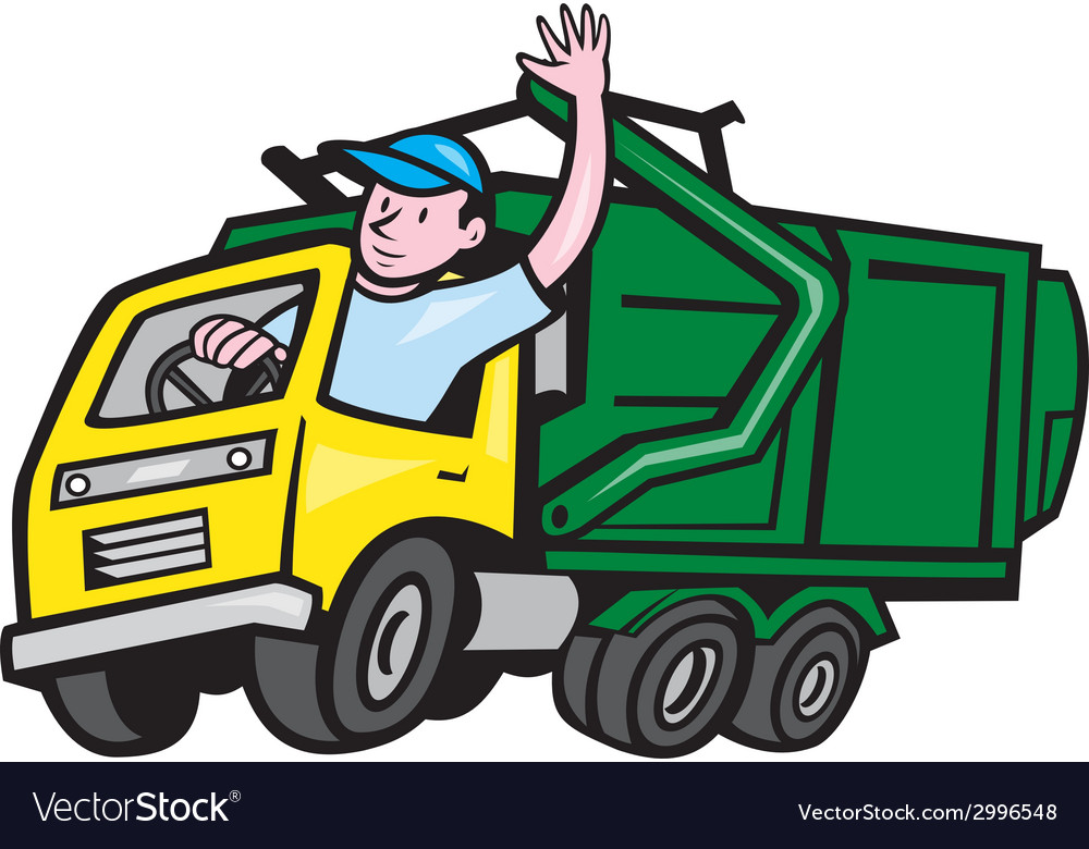 Garbage truck driver waving cartoon vector | Price: 1 Credit (USD $1)