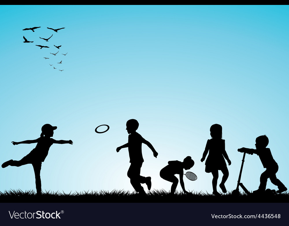 Kids silhouettes playing outdoor vector | Price: 1 Credit (USD $1)
