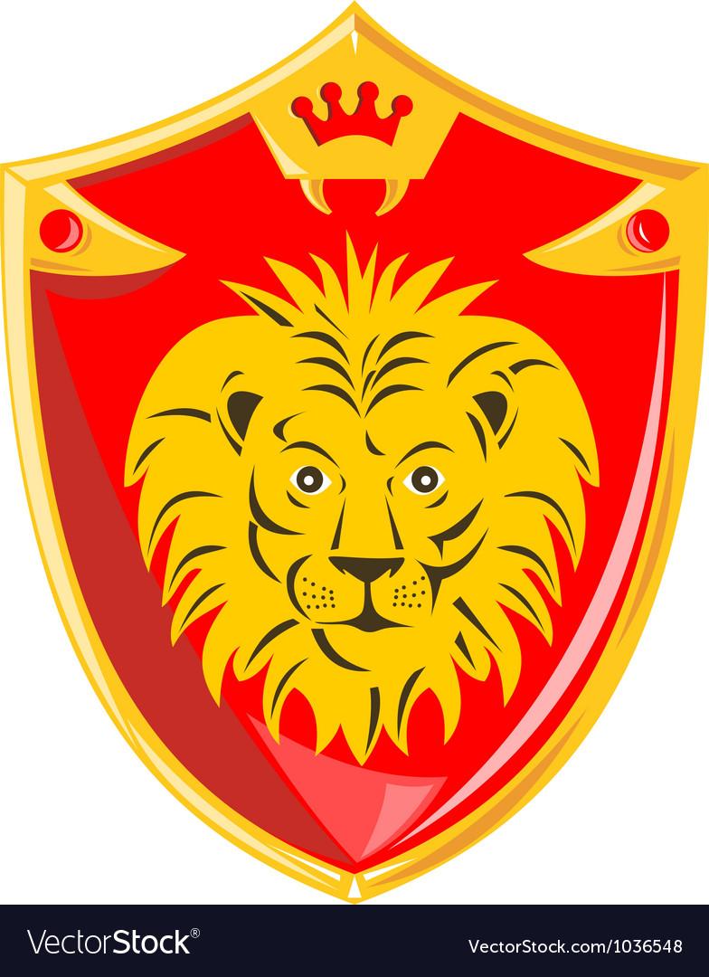 Lion crown shield retro vector | Price: 1 Credit (USD $1)