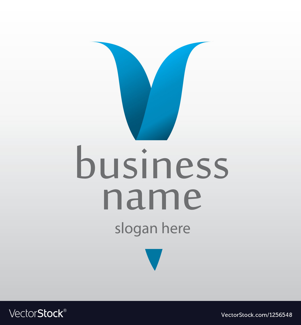 Logo with a blue letter v vector