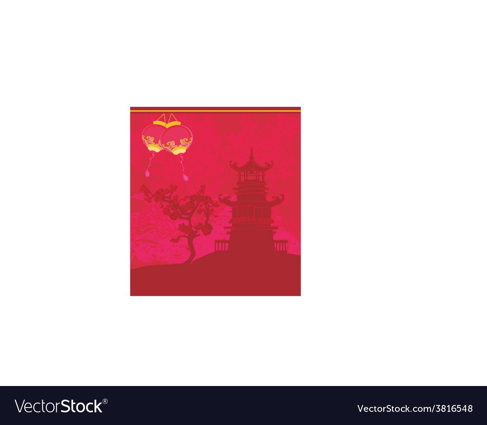 Old paper with asian landscape and chinese vector | Price: 1 Credit (USD $1)