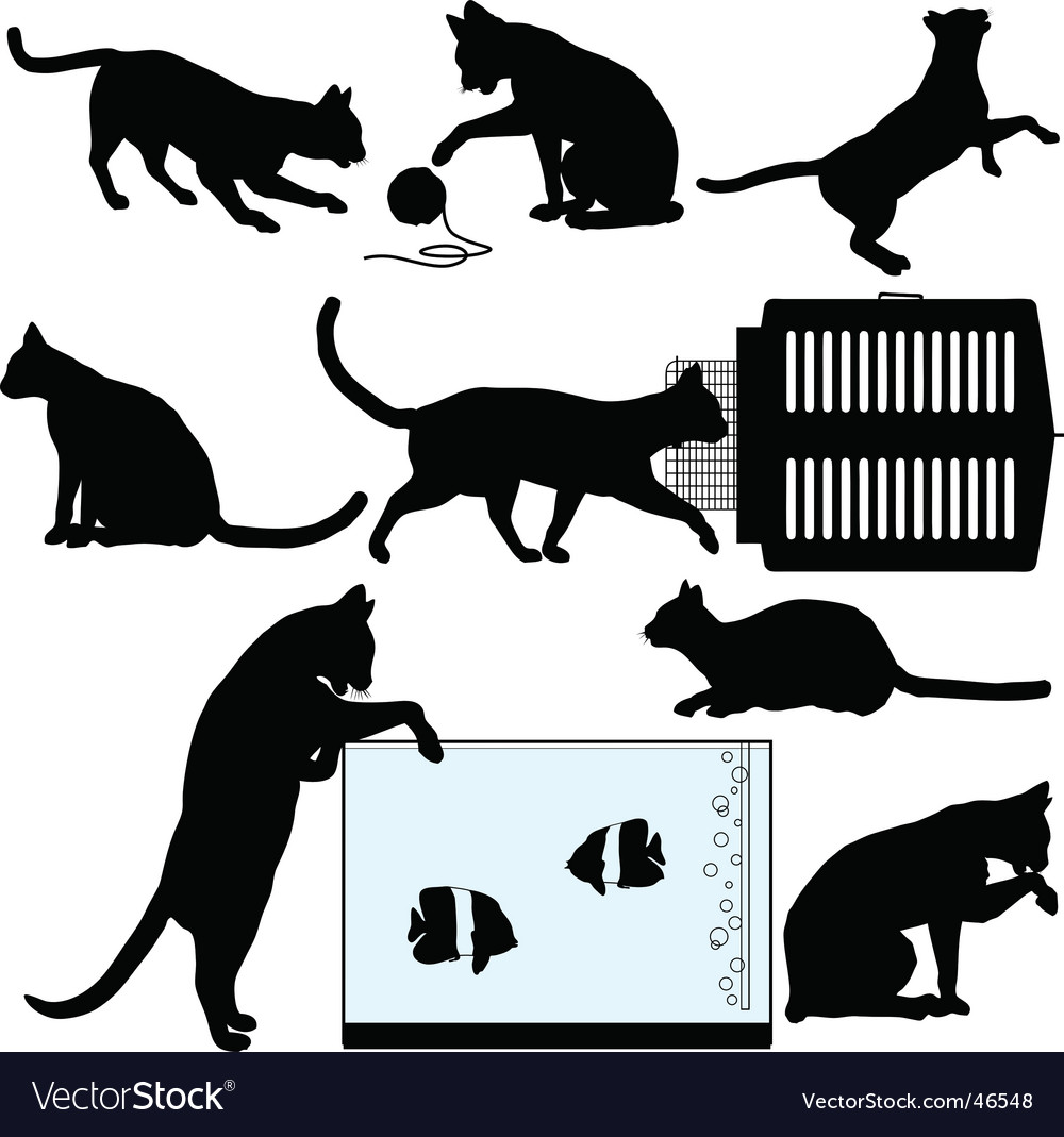 Pet cat silhouette vector   Price: 1 Credit (USD $1)