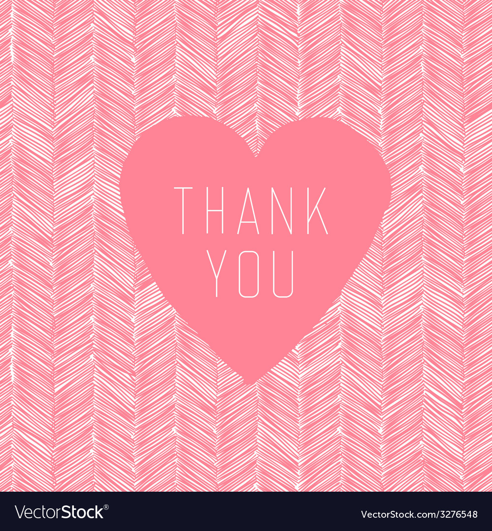 Pink thank you card handdrawn vector   Price: 1 Credit (USD $1)