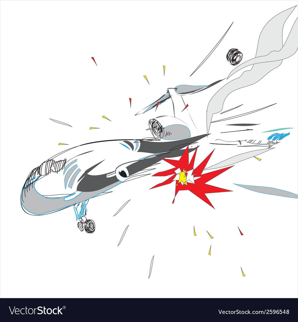 Plane crash vector | Price: 1 Credit (USD $1)
