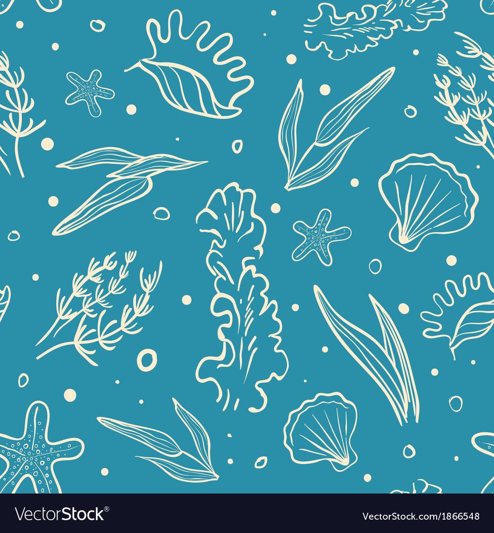 Seamless sea pattern vector | Price: 1 Credit (USD $1)