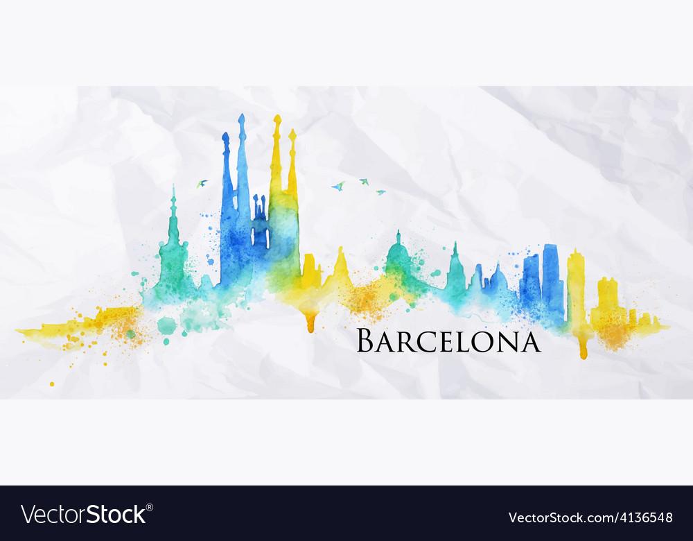 Silhouette watercolor barcelona vector | Price: 1 Credit (USD $1)