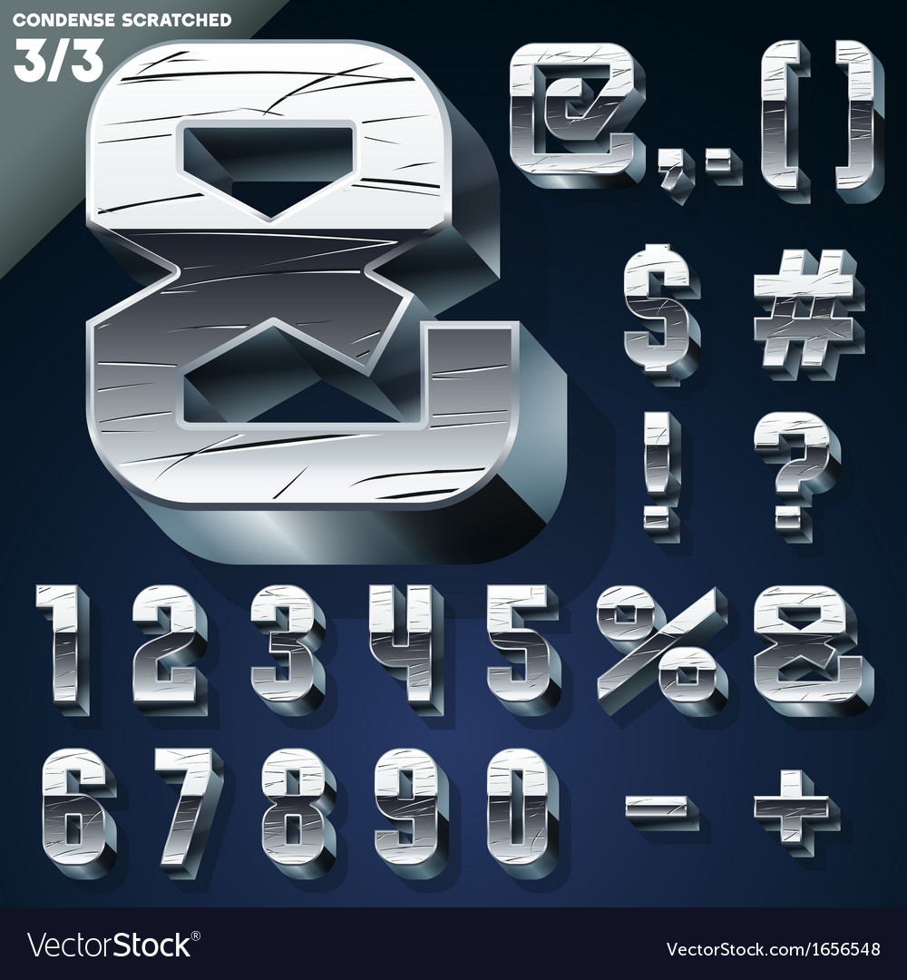 Silver chrome or aluminum 3d alphabet vector | Price: 1 Credit (USD $1)