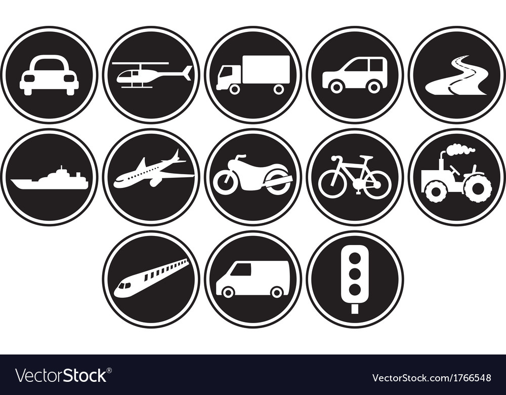 Transportation icons set vector | Price: 1 Credit (USD $1)