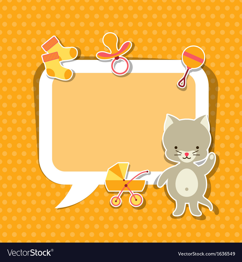 Background photo frame with little cute baby cat vector | Price: 1 Credit (USD $1)