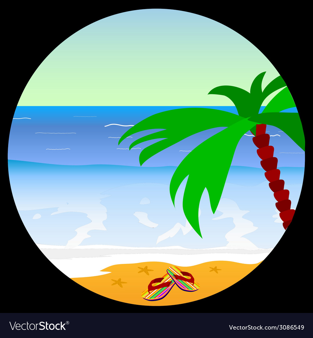 Beach paradise with sea star vector | Price: 1 Credit (USD $1)