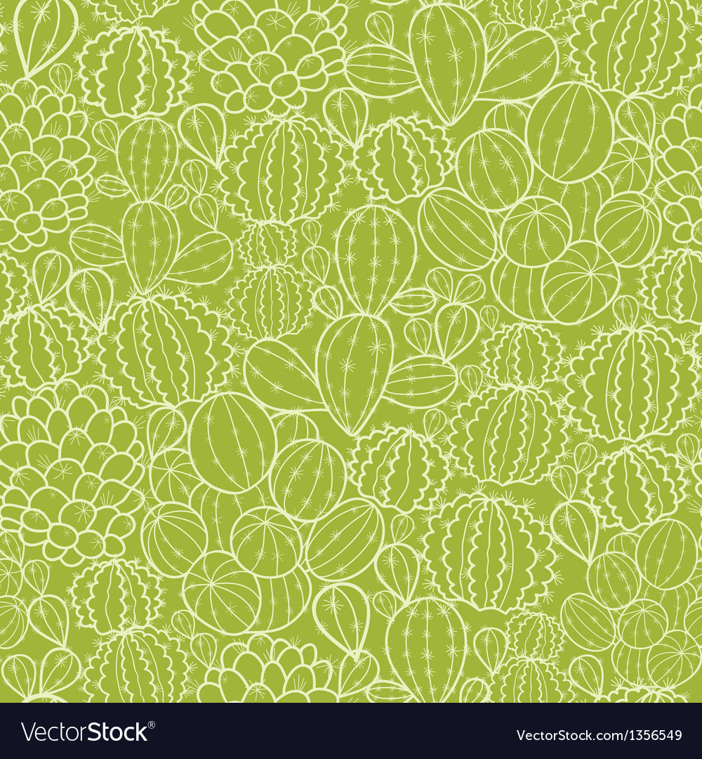 Cactus plants seamless pattern background vector | Price: 1 Credit (USD $1)