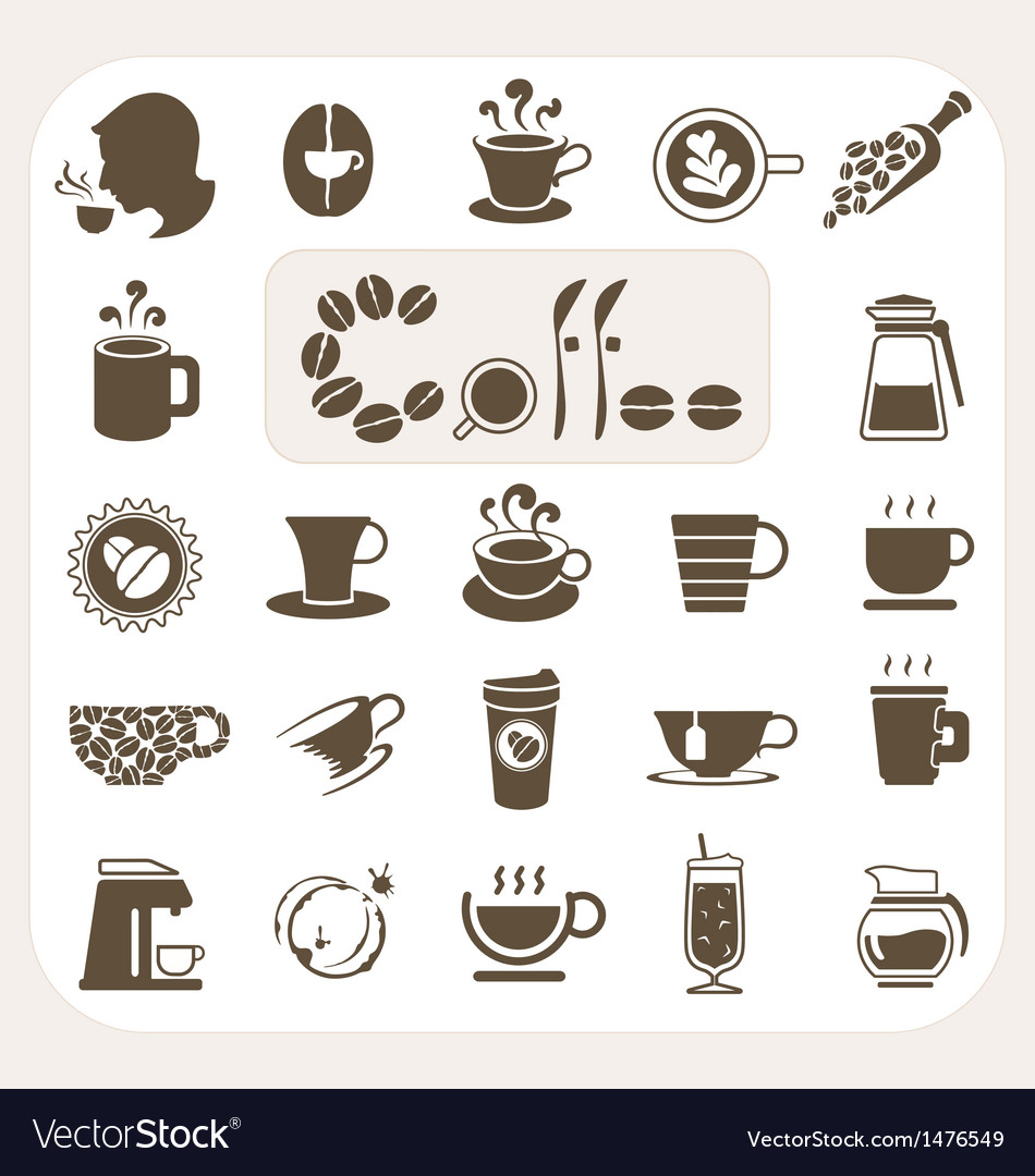 Coffee collection icons set vector | Price: 1 Credit (USD $1)